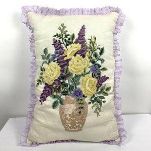 VTG Handmade Crewel Floral Purple Accent Pillow